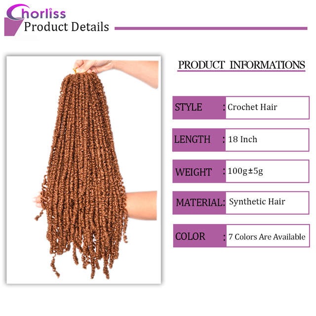 Passion Twist Crochet Hair Synthetic Braiding Hair Extensions 18Inch 15 Strands Spring Twist Hair 100g/Pack Long Black Brown 3