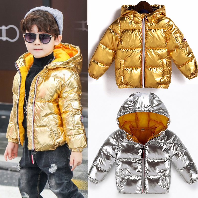 Gold Silver Pink Winter Puffer Coat for Boys and Girls Keep Warm Zippered Kid Autumn Jacket Children Waterproof Casual Down Coat