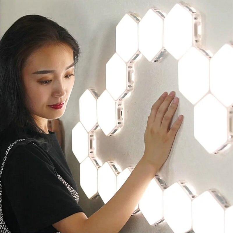 Luces modulares táctiles luces de noche magnéticas sensibles luces cuánticas Led Hex luces DIY decoración de pared de restaurante hogar lámpara de pared