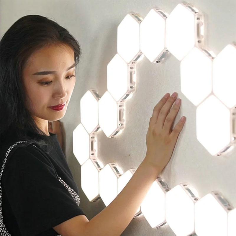 Modulare Touch Luci Luci notturne sensibile Magnetico Quantum Luci Led Esagonale Luci Fai DA TE A Casa Ristorante Decorazione Della Parete Lampada Da Parete