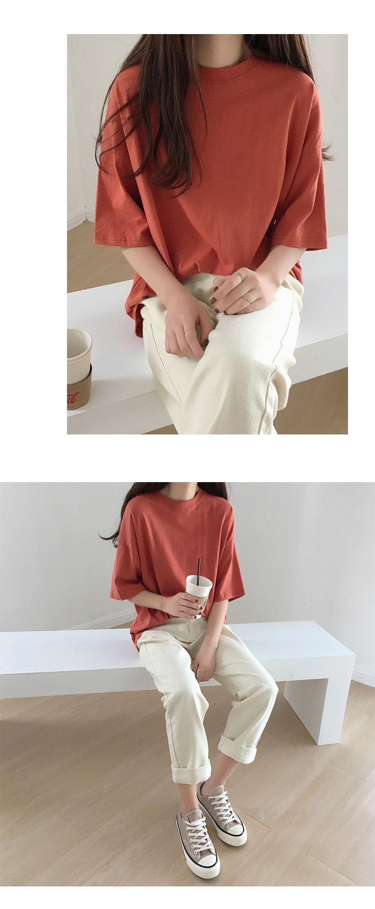 Hdcb85392eba44bf18ee54509b6298cdb0 - Summer O-Neck Short Sleeves Minimalist Loose Basic T-Shirt