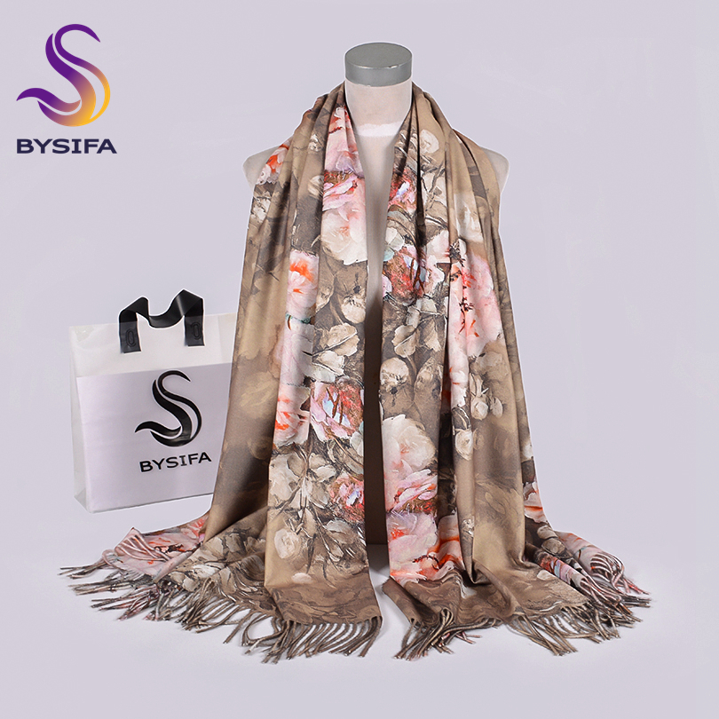 [BYSIFA] Winter New Camel Wool Cashmere Scarves Pashmina Printed Luxur Brand Long Shawls Ladies Neck Scarf Hijab Echarpes Chales