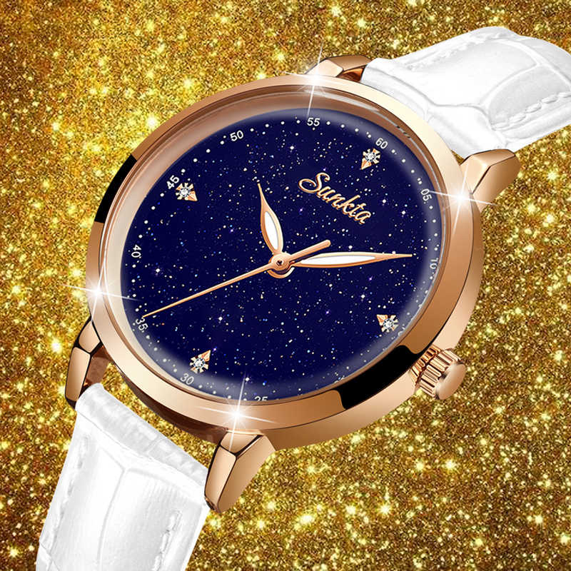 2020 sunkta nova marca de luxo relógios femininos relógio quartzo senhoras moda vestido couro relógio casual mulher relogio feminino + caixa