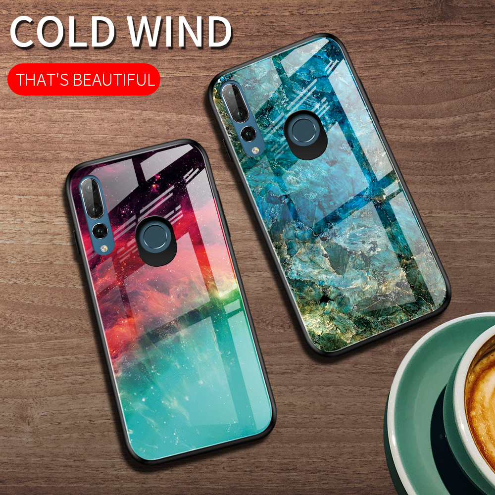 Phone <font><b>Case</b></font> for <font><b>Huawei</b></font> <font><b>Y9</b></font> Prime <font><b>2019</b></font> Cover Gradient Marble Tempered Glass Soft TPU Frame Cover for <font><b>Huawei</b></font> P Smart Z Phone <font><b>Cases</b></font> image