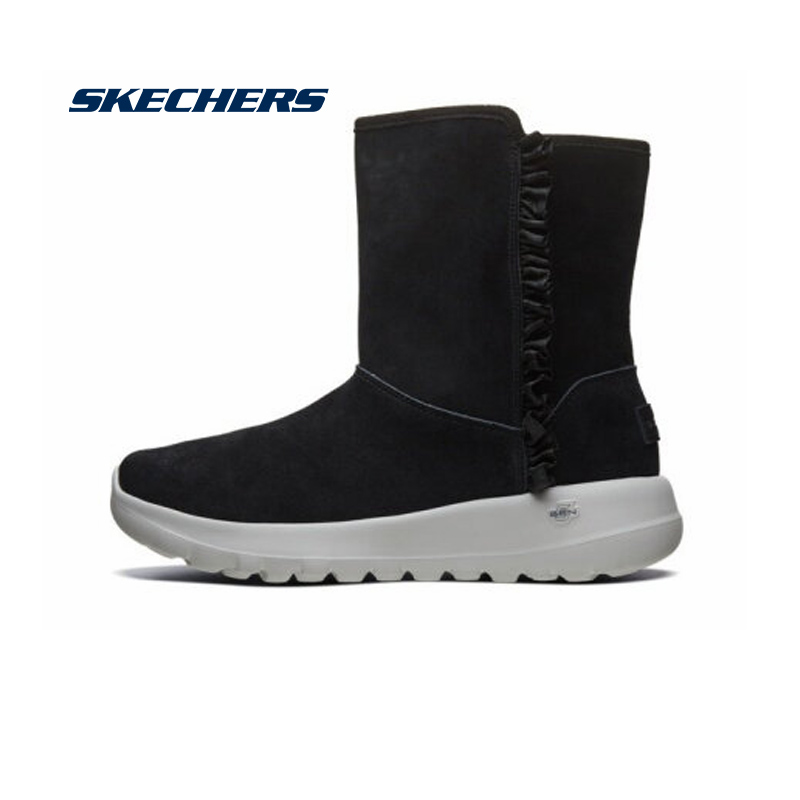 <font><b>Skechers</b></font> Winter Boots Women 2019 Mid Calf Plush Winter Warm Snow Boots Comfortable Casual Cotton Boots Botas <font><b>Mujer</b></font> 15525-BLK image