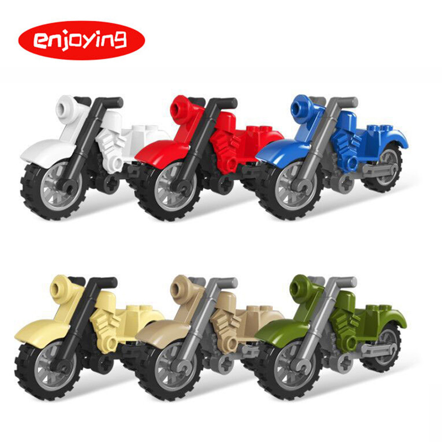 City MOC Motorcycle Building Blocks Vehicles Accessories Military Series SWAT Weapon Bricks Toys For Children