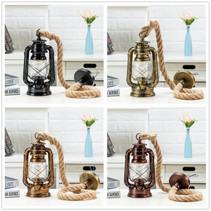 Image 1 - Vintage Kerosene Pendant Lamp With Free Bulb E27 Hemp Rope Hanging Lamp for Home/Bedroom/Living room Industrial Pendant Lights