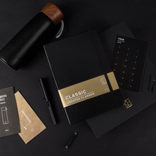 A5 Black Gentleman Business Journal Set Lined Paper Book 80 Sheets Cool Notebook Gift Free Shipping hua jie a4 composition books leather pu notebook business daily memos 200 sheets personal organizer notepads lined journal book