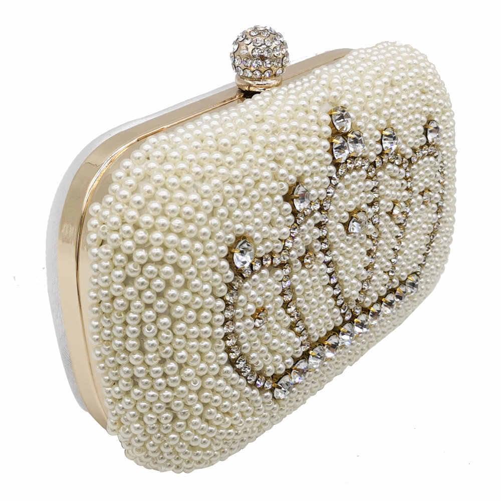 Boutique De FGG Elegante Crown Form Frauen Perlen Abend Taschen Braut Hochzeit Handtaschen Partei Abendessen Kleine Perlen Kupplung Tasche