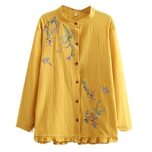 Shirts Tops Blouses-Stand Oversize Women Ladies Autumn Clothing Collar Embroidery Long-Sleeve