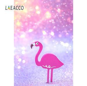 Laeacco Фламинго день рождения мечтательный горошек светильник Bokeh ребенок фон для фотосъемки цифровая Фотостудия