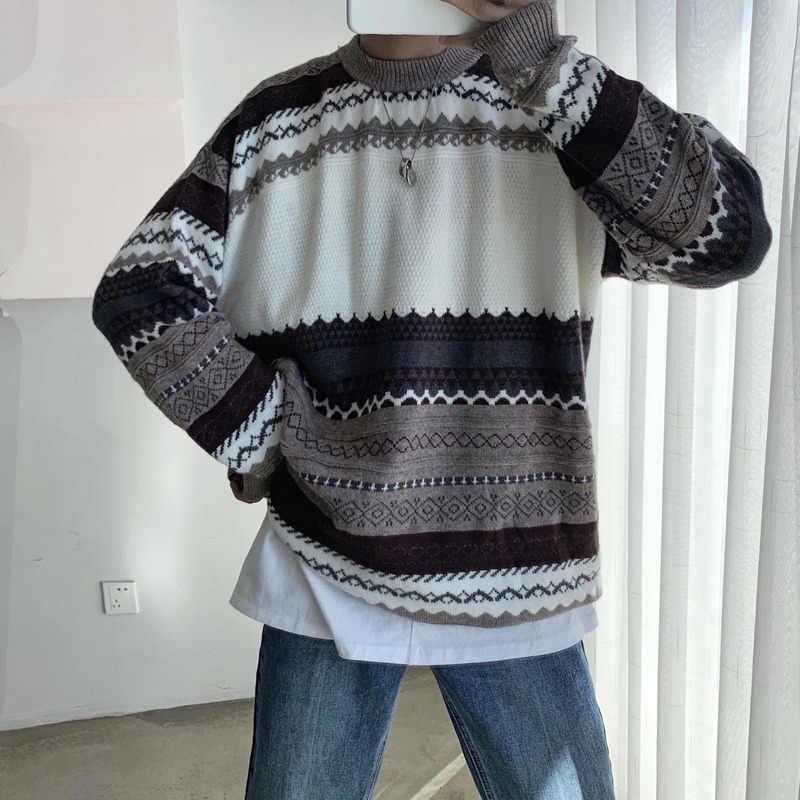 Inverno camisola masculina moda quente retro impressão casual camisola de malha homem selvagem solto de manga comprida pulôver masculino sweter roupas
