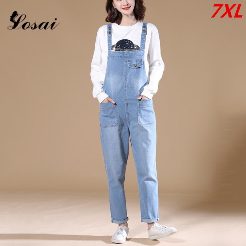 Plus Size 7XL Women Girl Washed Denim Jumpsuit Ladies Casual Jeans Rompers Boyfriend Women's Overalls Denim Jumpsuits Bodysuit