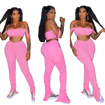 Solid Color Tracksuit 2020 Women Summer Fitness Draped StraplessTops+Ruched Flare Pants Matching Sets Outfits Plus Size S-XXL american living new red poppy draped ruched women s 12 sheath dress $69 400