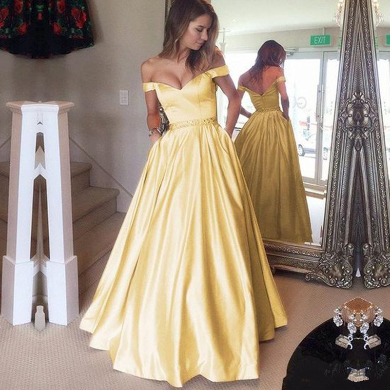Off The Shoulder High Quality Satin   Prom     Dress   with Pleats Crystals Beading Belt Floor Length Long Evening Gowns Custom Made