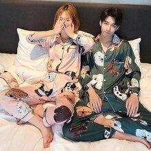 Women Satin Nightwear Pajamas-Set Sleepwear Couples Pjs Silk Cartoon Spring New Top Dog
