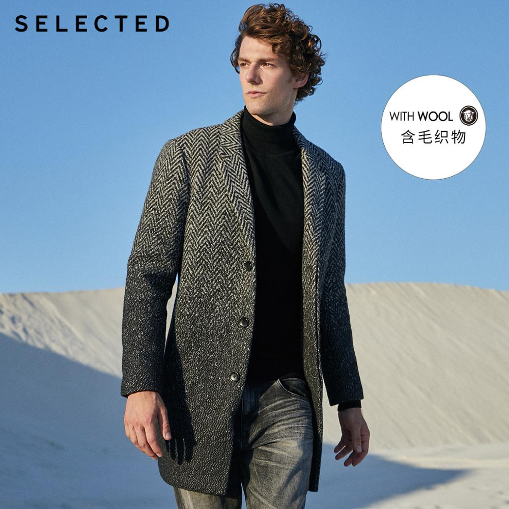 SELECTED Men's Wool-blend Coat Lapel Winter Jacket Male New Outwear Clothes S | 418427554