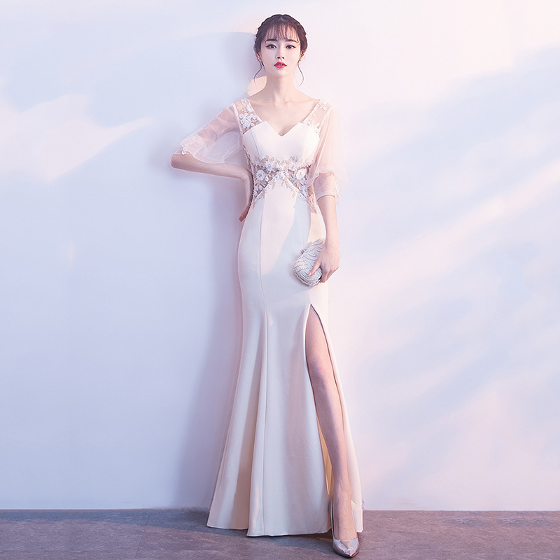 Evening Dress Embroidery Beading Mermaid Prom Dresses Split Half Sleeve Lace Formal Women Evening Gowns Long Robe De Soiree F278
