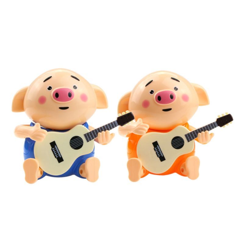 Cute Pig Playing The Guitar Electric Light Music Toy For Kids Children Playing Educational Toys Gifts Accessories