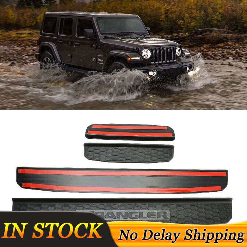 Protecteur dentrée de seuil de porte de voiture   4 pièces/ensemble protection dentrée, accessoires de porte, couvercle de plaque de porte pour Jeep Wrangler JL 2018 2019