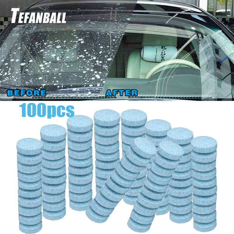100Pcs/Set Multifunctional Effervescent Tablets Spray Cleaner For Car Windshield Kitchen Bathroom Glass Cleaning DropShipping