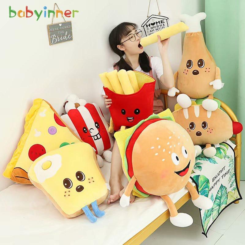 bebe interior simulacao de alimentos brinquedo de pelucia hamburguer pizza pipoca brinde almofada travesseiro de pelucia