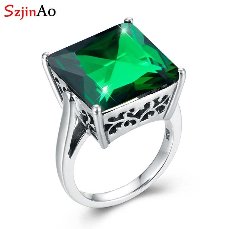 SzjinAo luxe Squere péridot anneaux pour femmes solide 925 sterling argent bijoux fins août pierre de naissance fiançailles cadeau de mariage