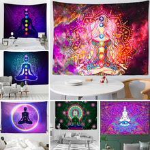 Indian Buddha Statue Meditation 7 Chakra Tapestry Wall Hanging Mandala Tapestries Wall Cloth Psychedelic Yoga Wall Hanging