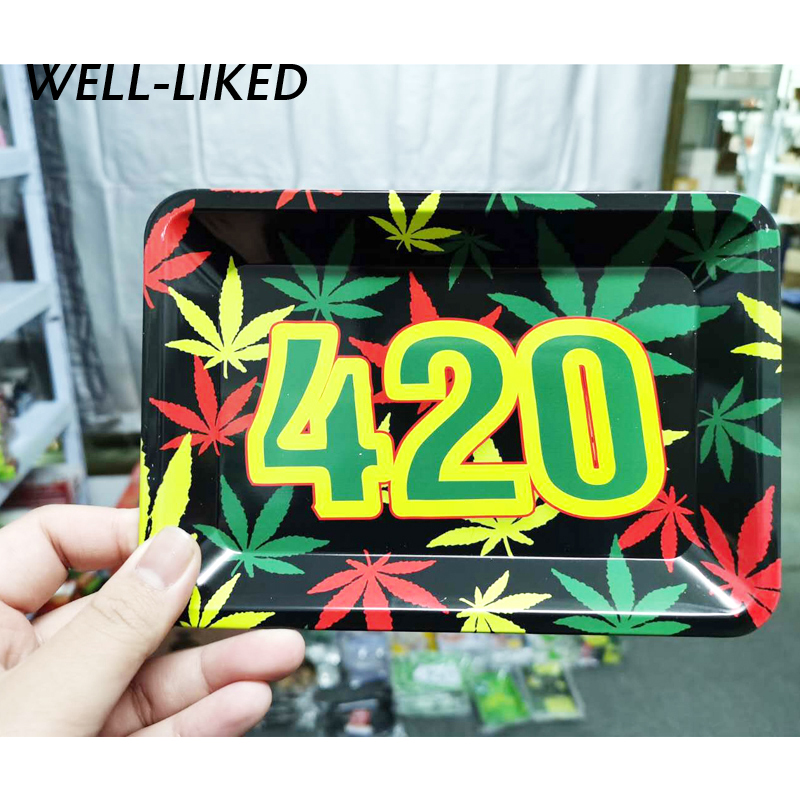 New Arrival 18*12.5 Cm Table Leaf Letters Tray Cigarette Joint Smoking Dish Metal Tin Tobacco Rolling Paper Tray Storage