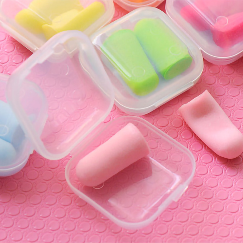 1set Soft Foam Ear Plugs Tapered Travel Sleep Noise Prevention Sponge Include Box