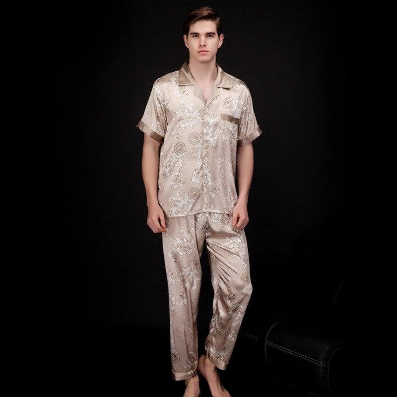 Pants Kimono Pajamas Sleepwear Short-Sleeve Satin Silk Korean Summer Autumn Black Print