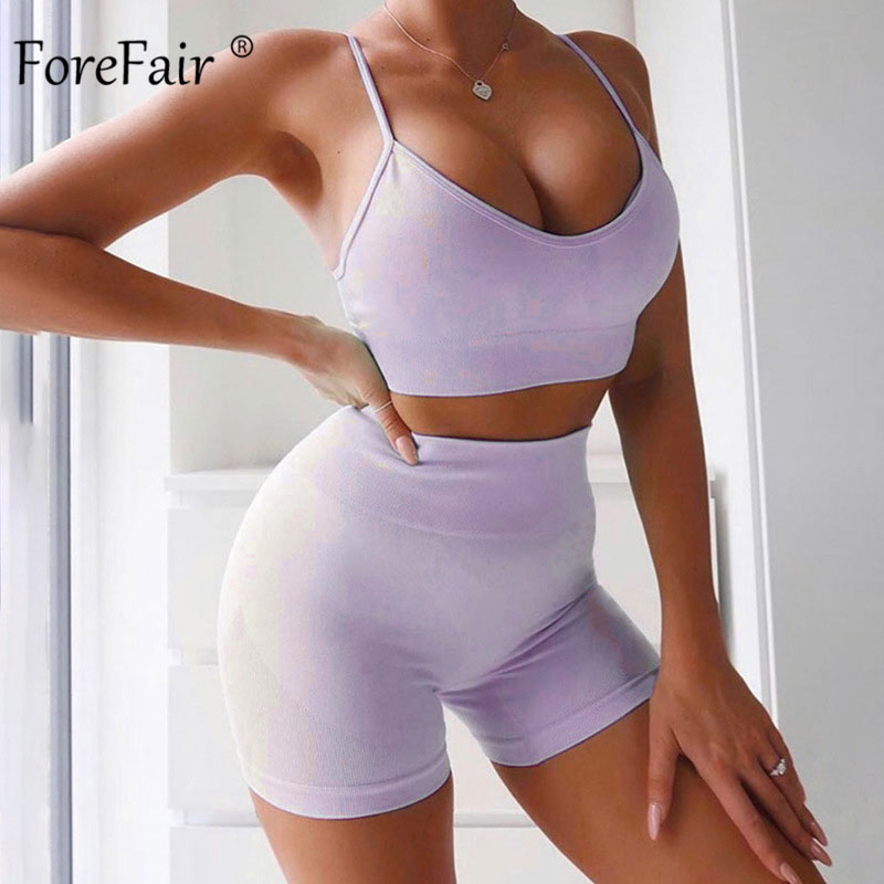 Forefair Summer Sexy Two Piece Set Women Outfits Fitness Spaghetti Strap V Neck Bodycon Solid Women Set