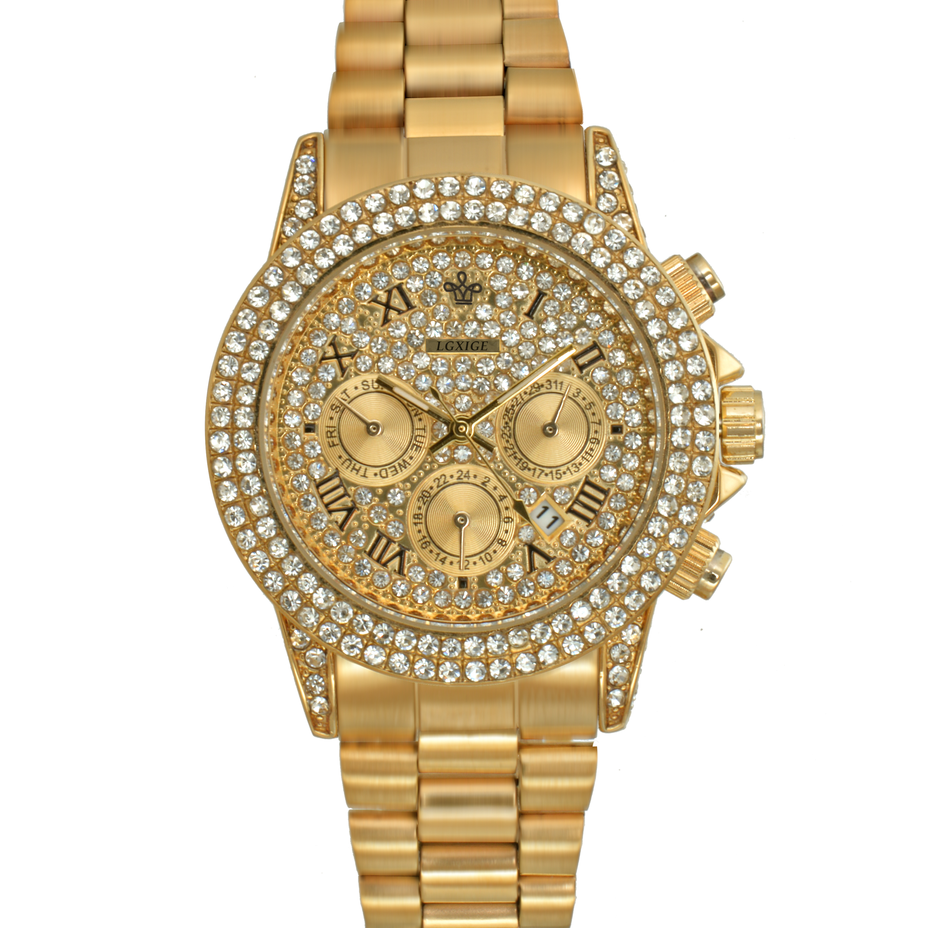 Dropshipping Diamonds Luxury Watch Top Brand Fashion Watch Men Quartz Waterproof 18K Gold Watch Chronograph Rolexable Wristwatch
