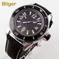 Bliger 43 мм Miyota 8215 автоматические мужские часы с сапфировым стеклом черный циферблат отображение даты светящийся Безель кожаный ремешок