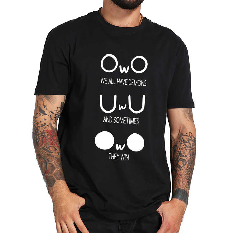 We All Have Demons T shirt Cute Abstract Emotion Pattern Crew Neck 100% Cotton Meme Tee Shirt EU Size