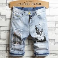 3D charakter kunst gedruckt männer licht blau komfortable denim shorts 2020 sommer neue jugend muss-haben mode dünne jeans shorts