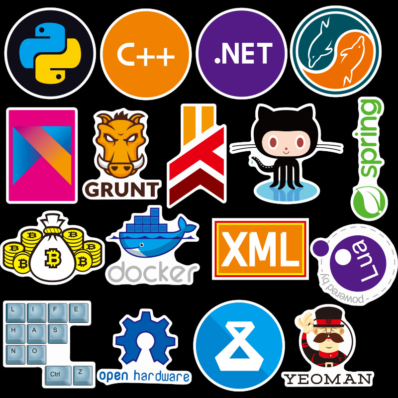 72Pcs Programmer Software Stickers Personality Laptop Luggage Car Stickers Skateboard Suitcase Stickers Waterproof Stickers
