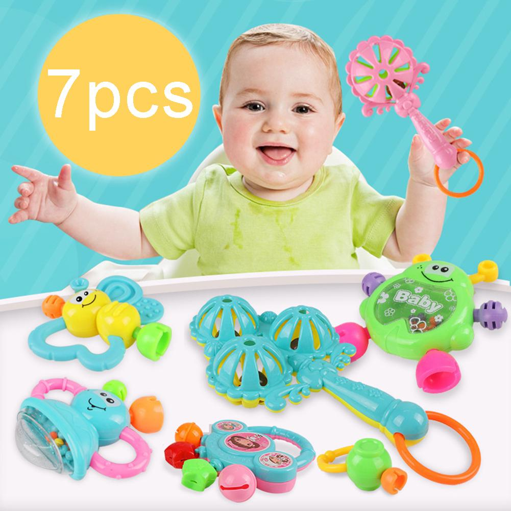 7Pcs Cartoon Animal Newborn Baby Shake Hand Bell Musical Rattle Teething Toy 0-12 Months Newborn Infant Babies  Toys