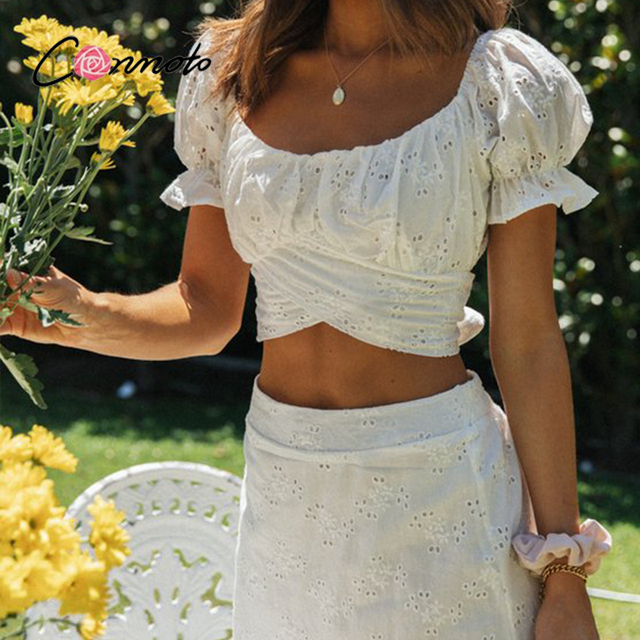Conmoto Casual two-piece mesh white lace dress women Vintage bandange short crop top suit summer Puff sleeve holiday dress sets 4
