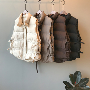 цена на 2019 winter women's sleeveless down jacket new loose padded vest wild stand collar vests drawstring warm winter vest
