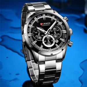 Image 3 - CURREN Sport Man WristWatch Calendar Chronograph Men Watch Military Army Top Brand Luxury Stainless Steel Casual Male Clock 8355