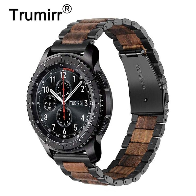 22 мм ремешок из нержавеющей стали и дерева для samsung gear S3/gear 2 Neo Live/huawei Watch 2 Classic/GT быстроразъемный ремешок
