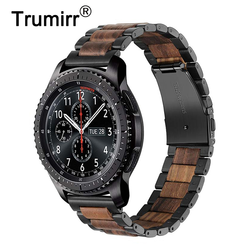 22mm Stainless Steel & Wood Watchband For Samsung Gear S3/ Gear 2 Neo Live/ Huawei Watch 2 Classic / GT Quick Release Band Strap