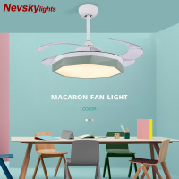Modern folding wing ceiling fans macaron led for dining room plafond ventilator ceiling fan light with remote control led fans