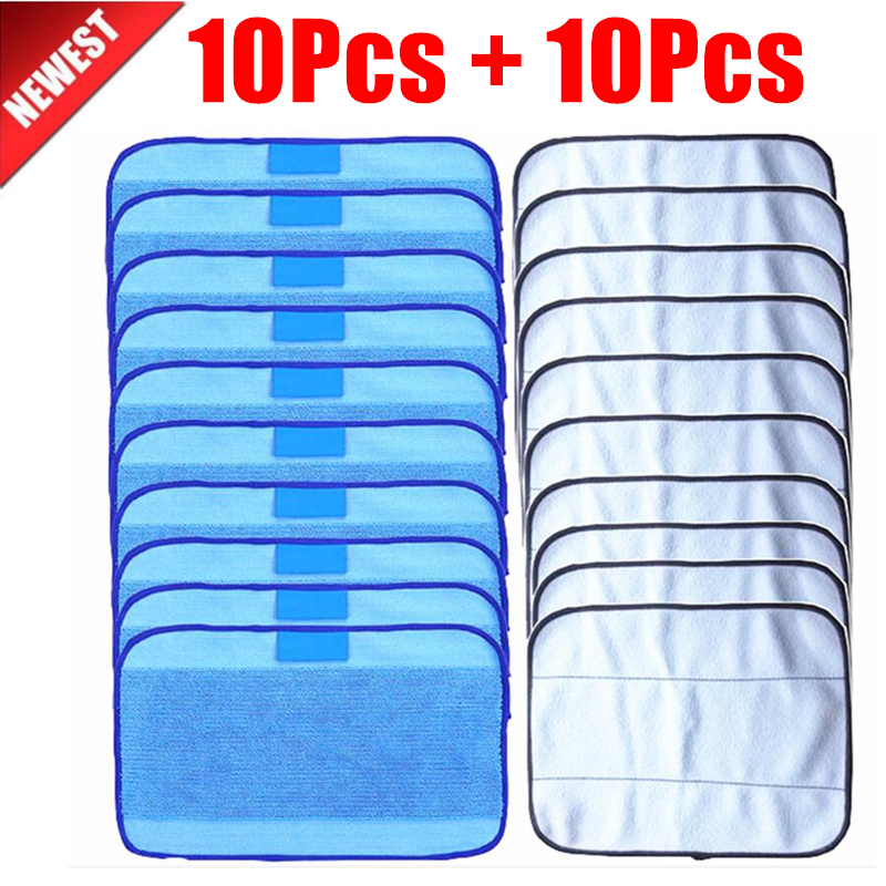 20pcs/lot Mixed Microfiber 10pcs Mopping Cloths Wet + 10 Pcs Dry For IRobot Braava 380 380t 320 Mint 4200 4205 5200 5200C