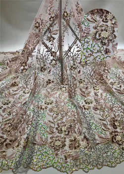 Nigerian Grand wedding lace 2020Popular African Sequince Lace tulle lace fabric For Spring Summer long Dresses