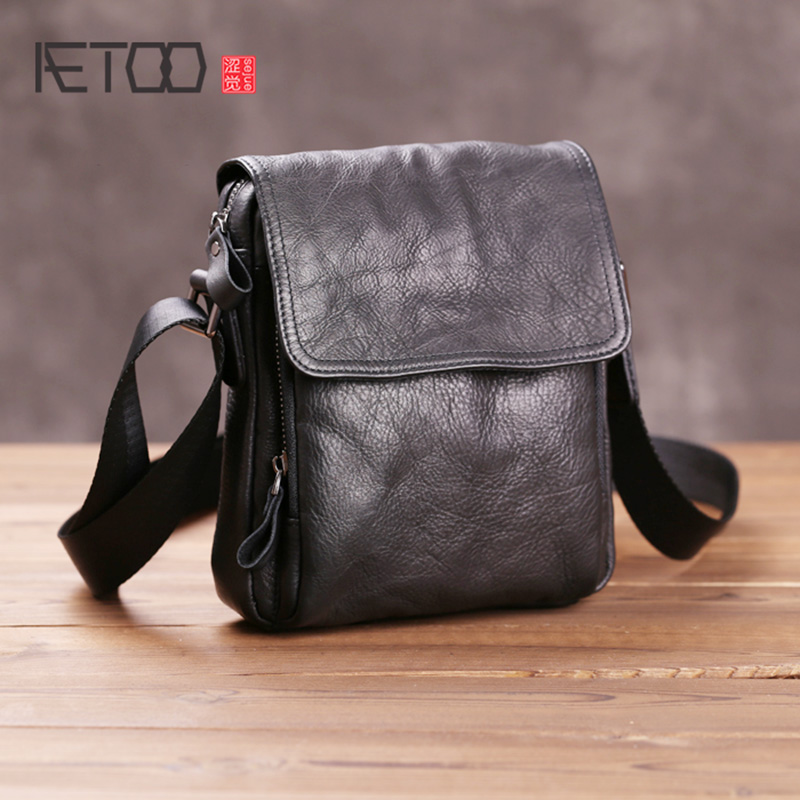 AETOO Men's Mini Shoulder Bag, Leather Retro Mobile Phone Bag, Leather Multi-function Waist Bag