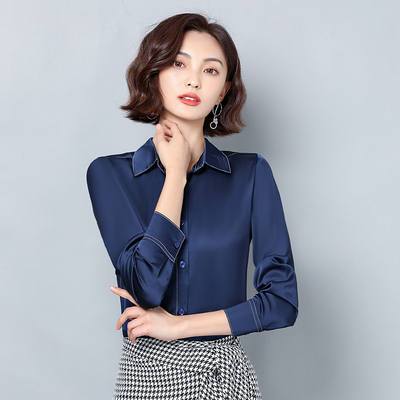 New Women Satin Silk Shirt Spring Autumn Long Sleeve Lapel Collar Office Ladies Work Shirt Women Blouse Casual Elegant Basic Top 10