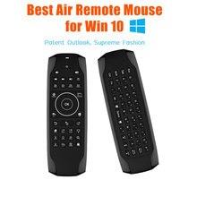 Teclado G7 Win10 GYRO Air Mouse QWERTY retroiluminado con LED Mini teclado giroscopio de 6 ejes para control remoto de TV para Win 10 Laptop Mini PC HTPC