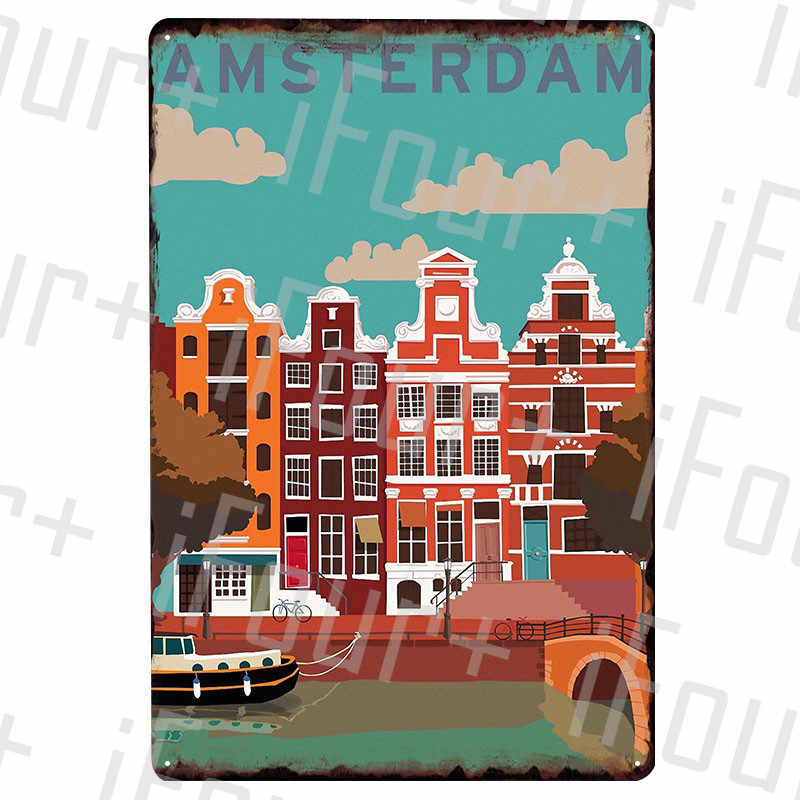 Amsterdam Metal Plate Tin Sign Plaque Metal Vintage Decor Metal Sign Metal Poster Home Bar Pub Cafe Decoration Vintage Posters